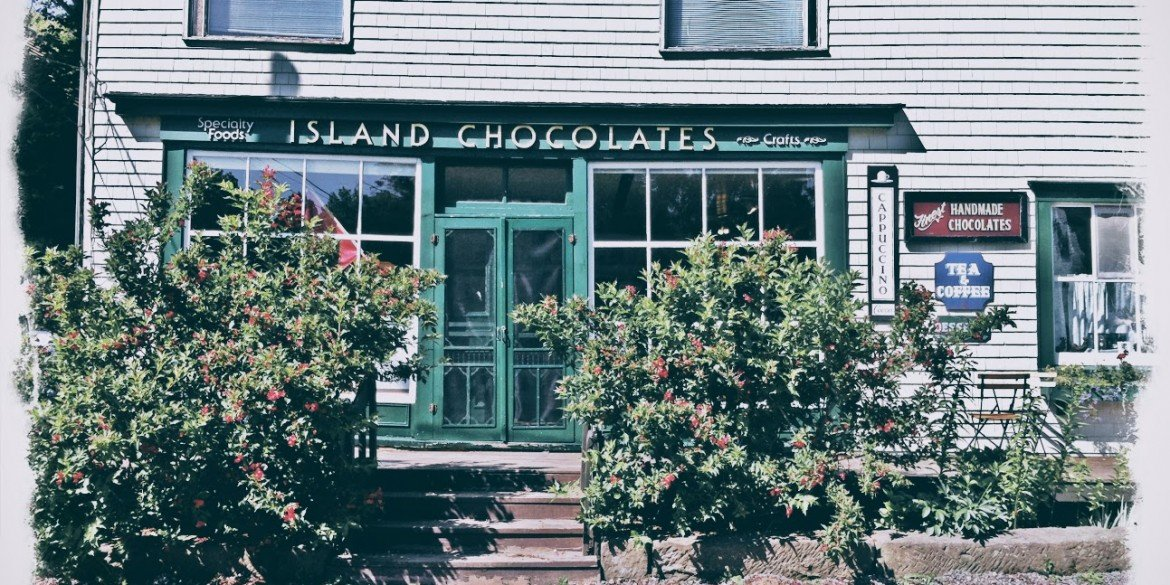 chocolate store with green door in Prince Edward Island