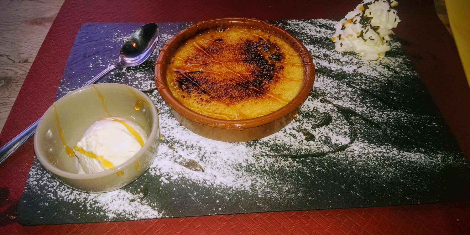 creme brulee on table in restaurant