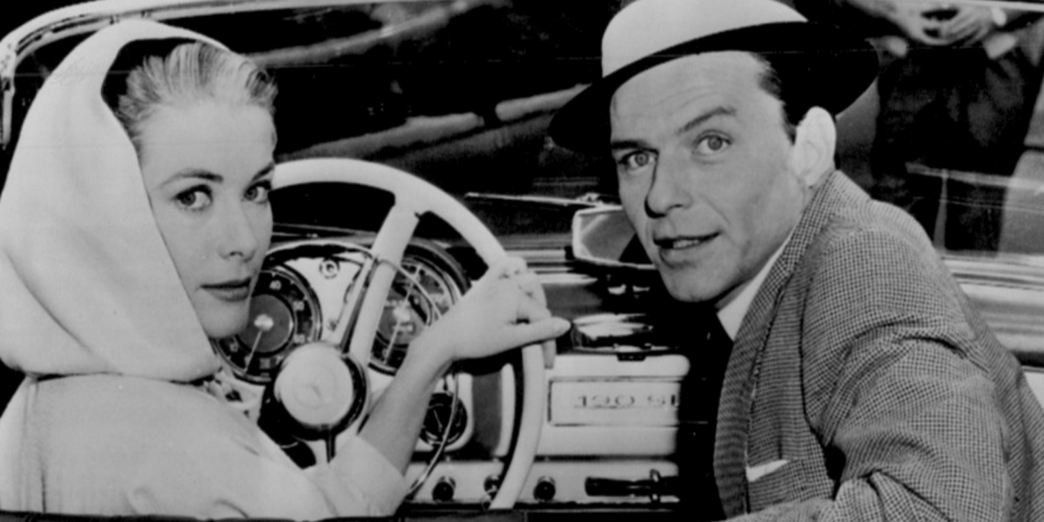 singer Frank Sinatra and actor Grace Kelly in a car