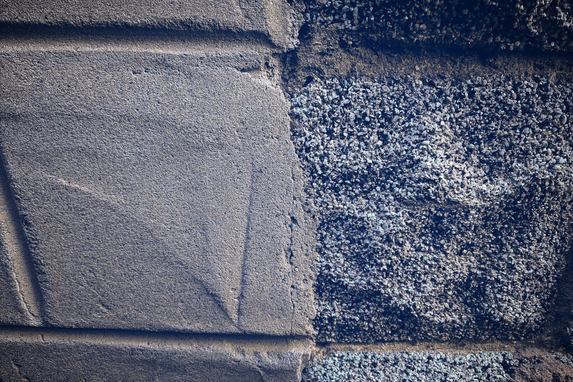 cement and stone wall in close up