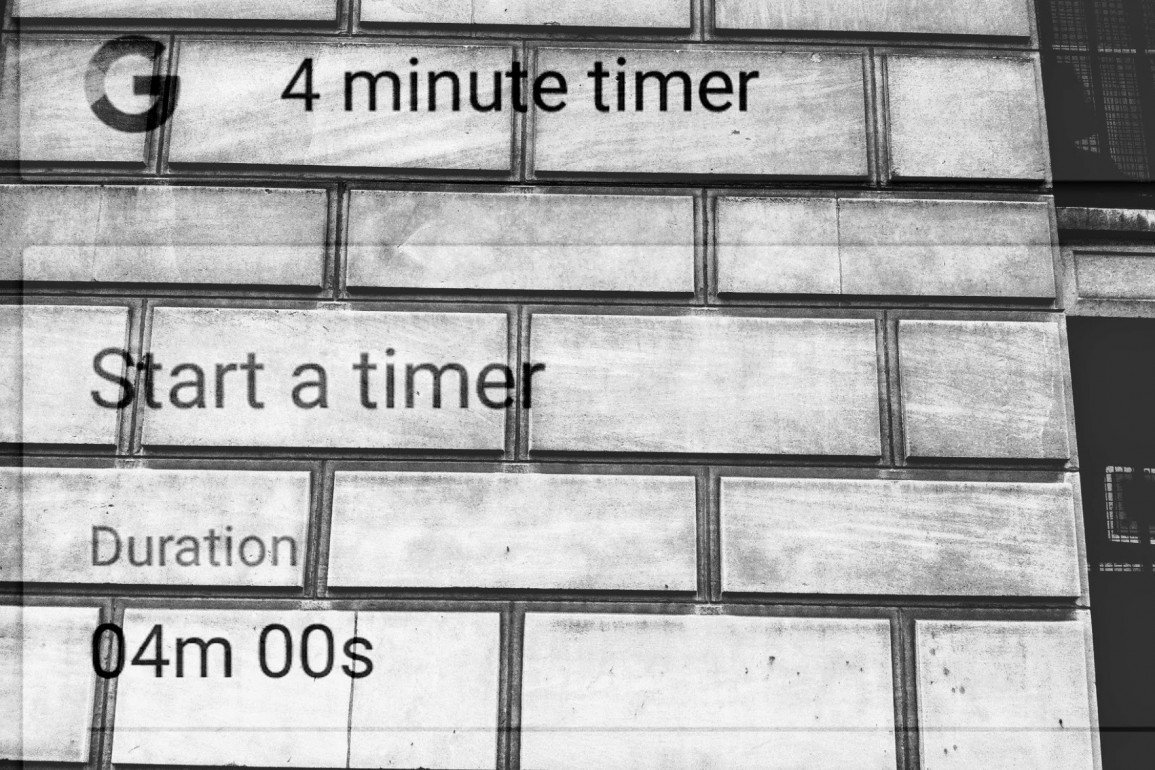 brick wall with the words, start a timer, duration, 4 minutes