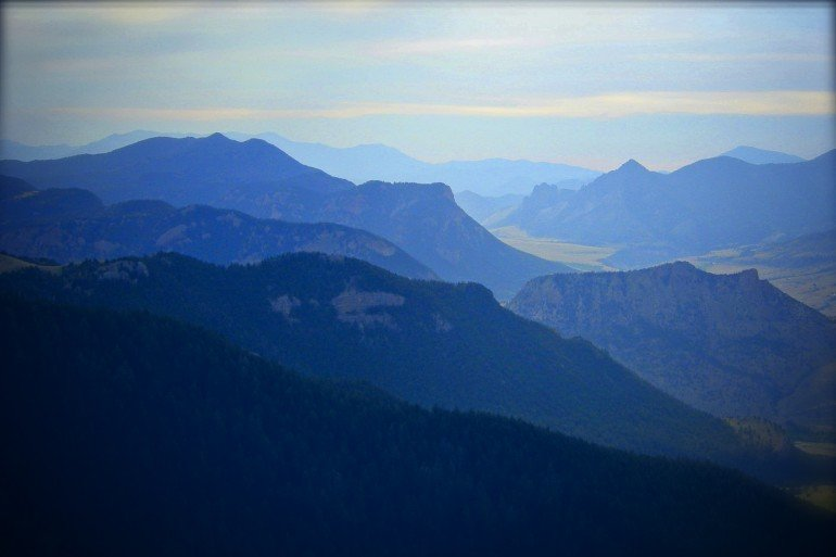 several mountain ridges extend into distance in Montana