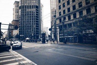 urban intersection on Market Street in San Francisco