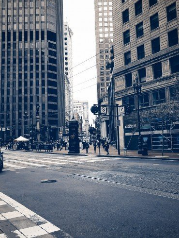 urban intersection on Market Street in San Francisco