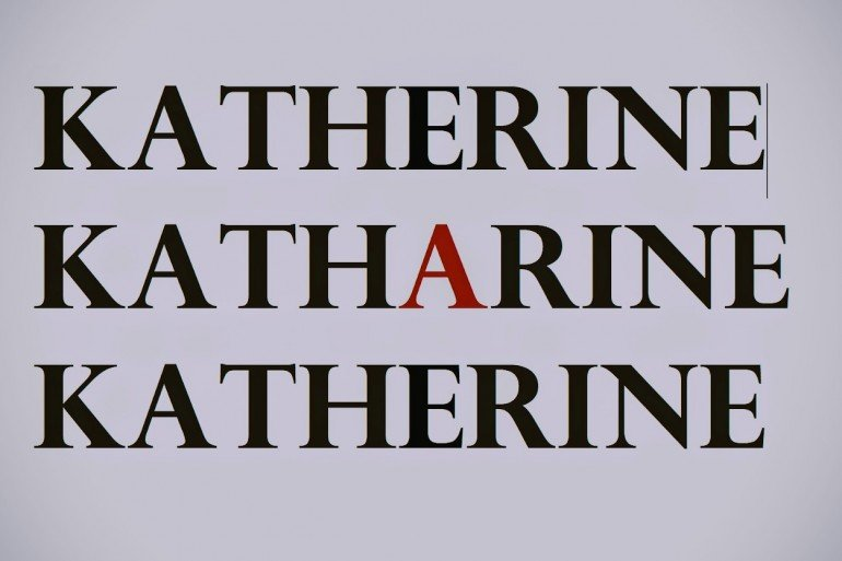 the word, Katharine, is repeated three times, once spelled with red letter, A, in middle