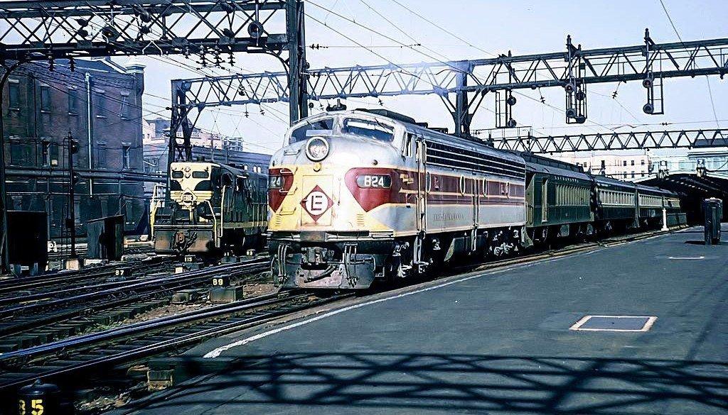 train engine in Hoboken Terminal in September, 1965