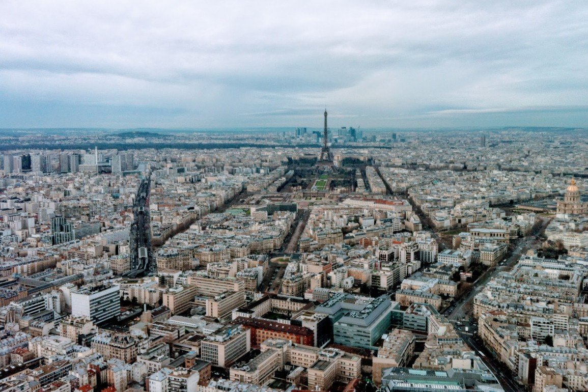 view of Eiffel Tower from roof of Montparnasse in Paris, France