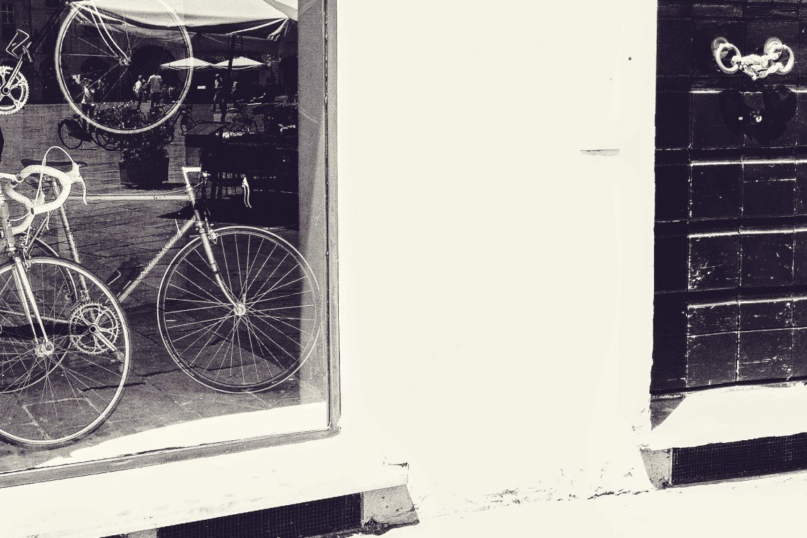 bicycles in shop window