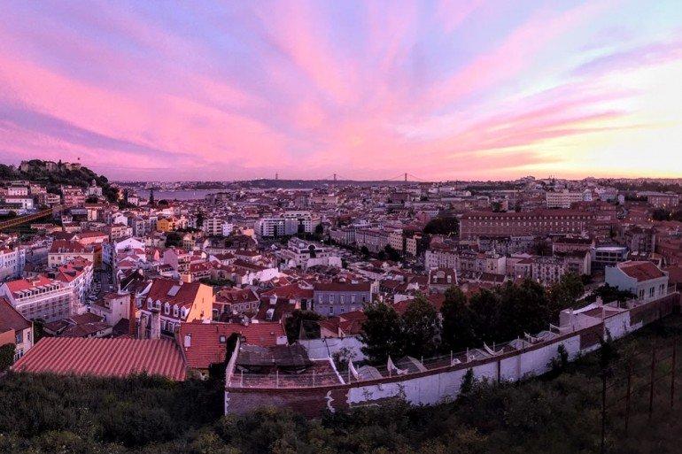 pink sunset over Lisbon, Portugal