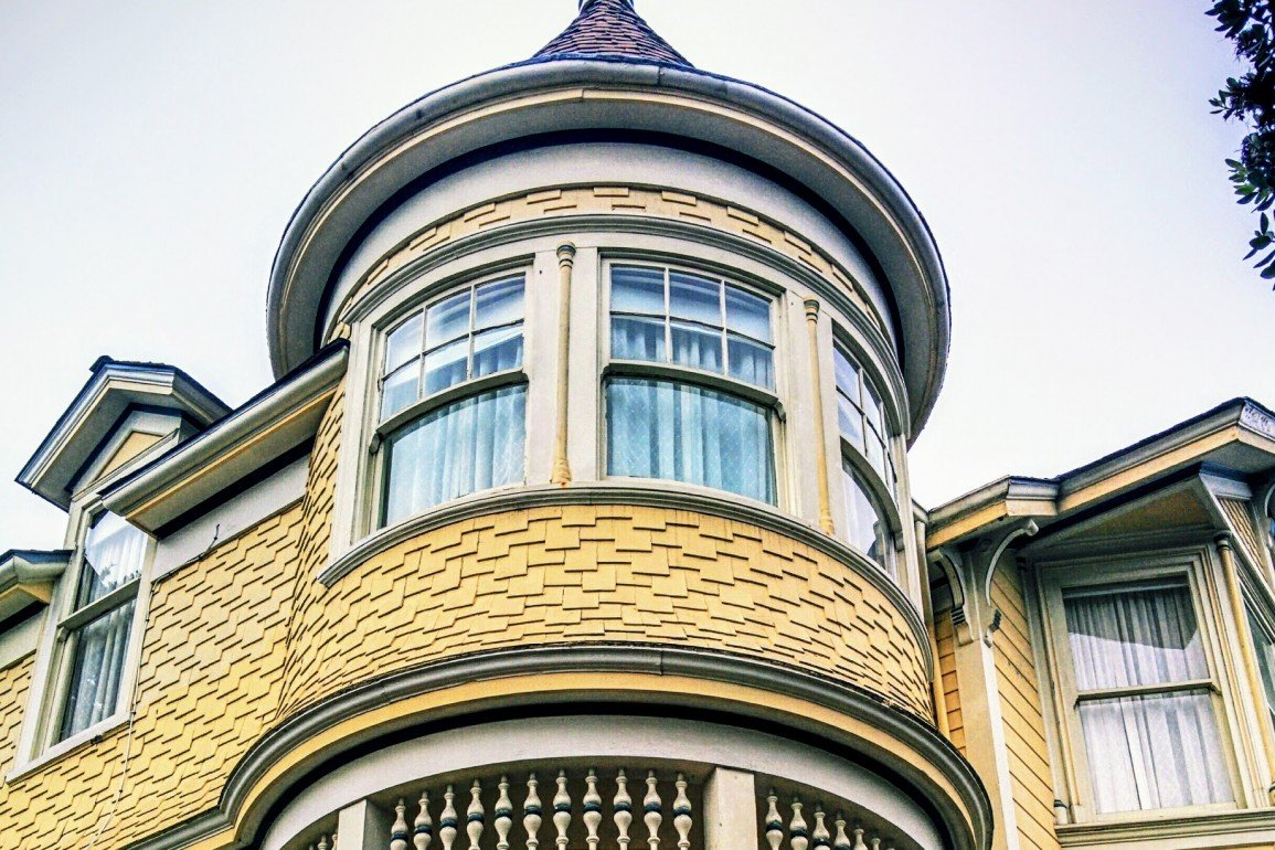 upper window of old house in Monterey, California