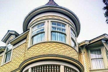 upper window of old house in Monterey, California