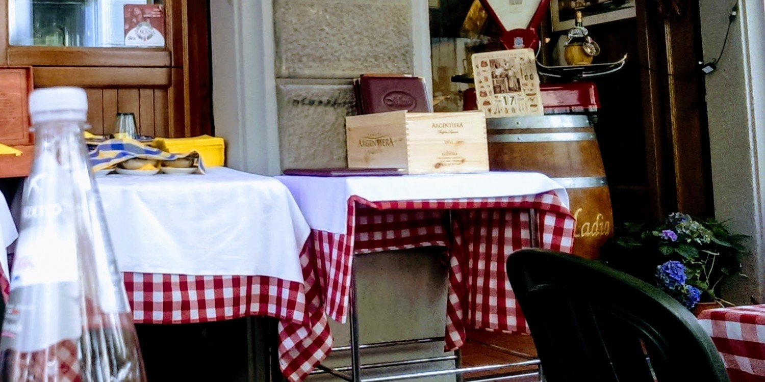 restaurant with red and white checked tablecloths