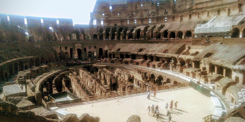 interior of Roman Colosseum shows travertine, tuff, and brick-faced concrete