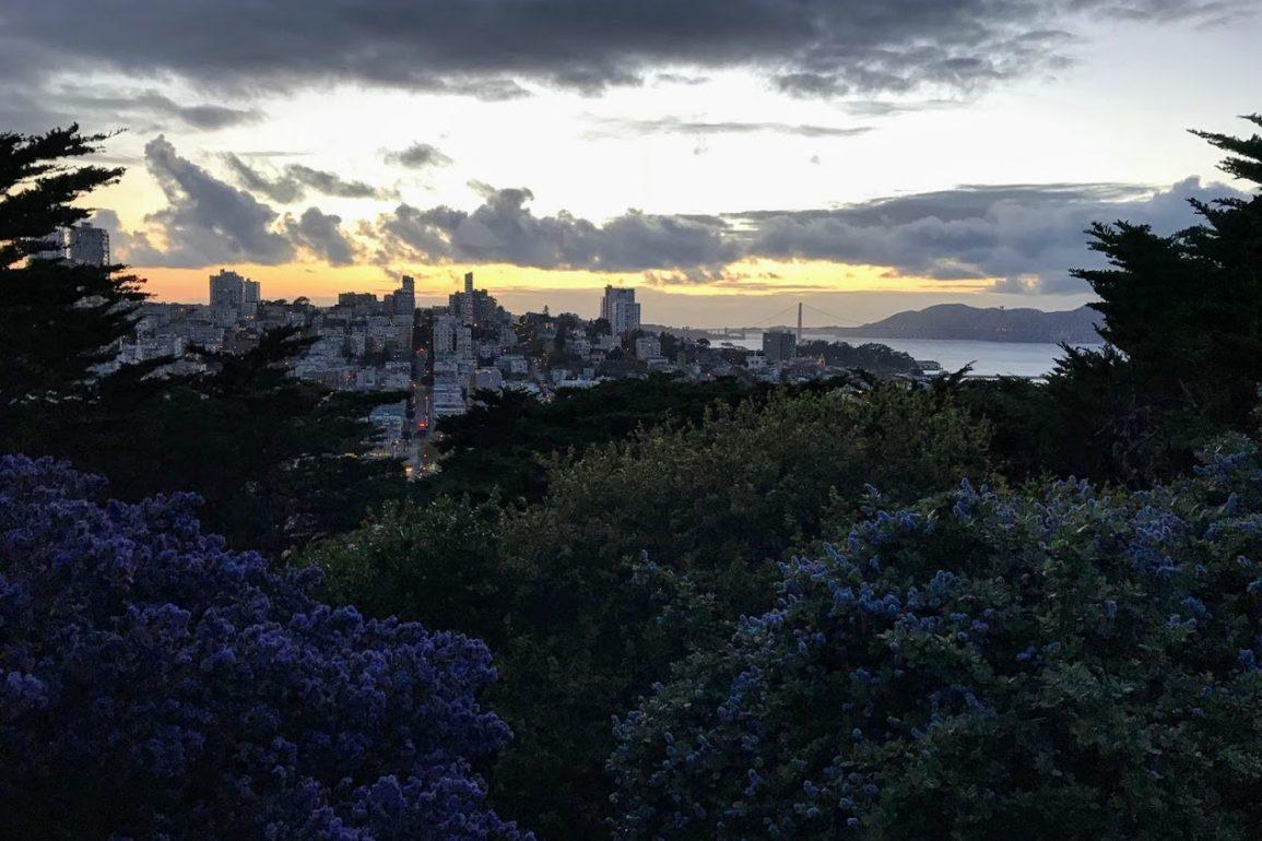 San Francisco skyline in darkness