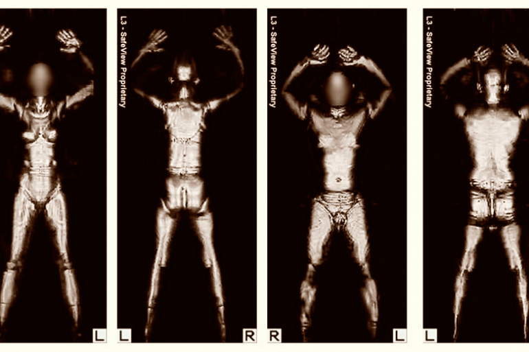 figures of men and women with arms raised and faces blurred in airport security scanner