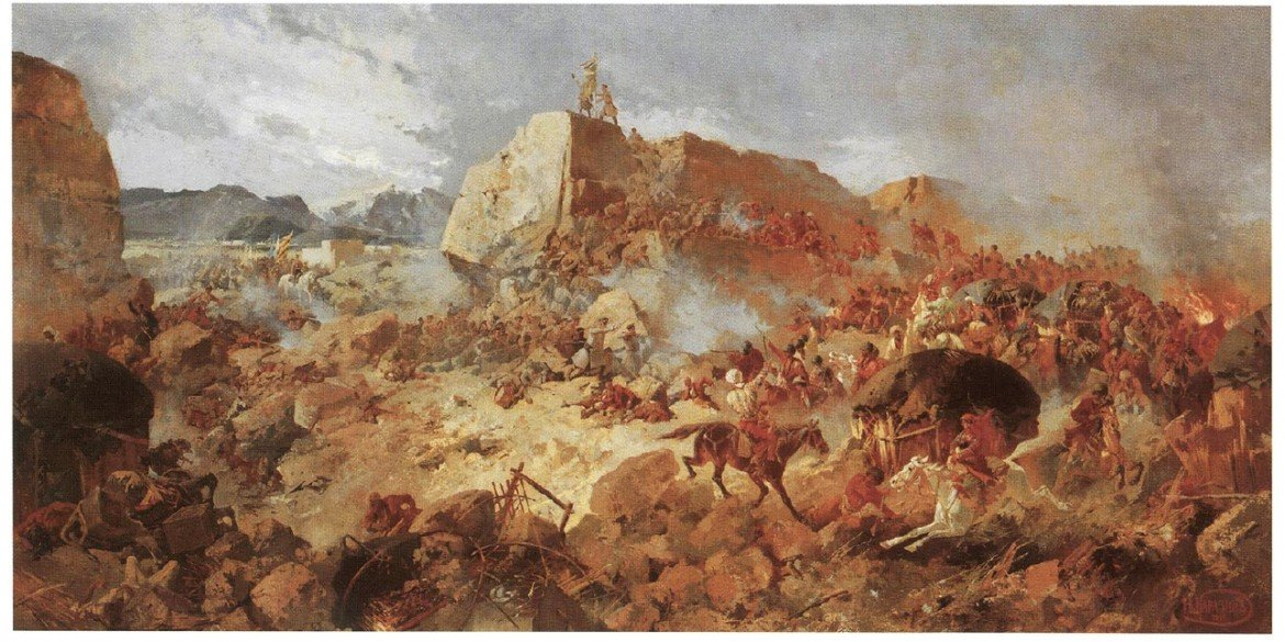 oil painting by Nikolay Karazin depicting a Russian assault on the fortress of Geok Tepe during the siege of 1880-81