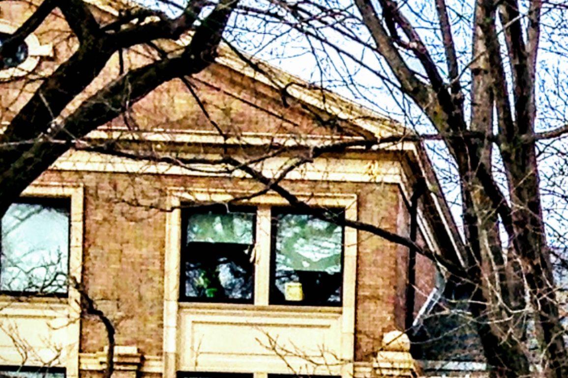 exterior of upper floor of building at University of Wisconsin-Madison in winter
