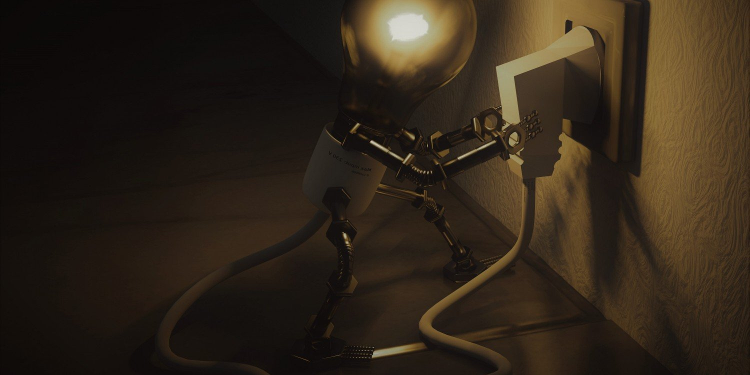 animated creature with lightbulb head, metal arms and legs, is plugging cable into electrical outlet in wall