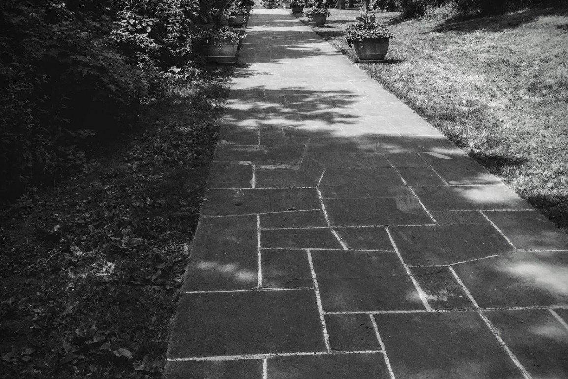 stone walkway in shade