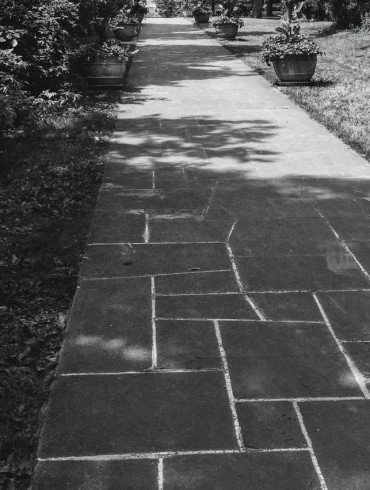 stone walkway in shade