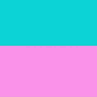 horizontal bars in pink and aqua representing Miami Vice colors