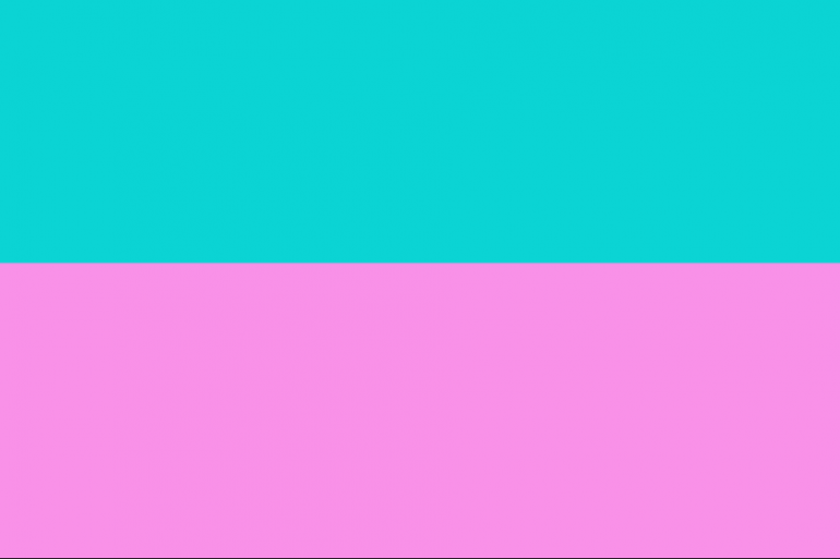 horizontal bars in pink and aqua representing Miami Vice colors
