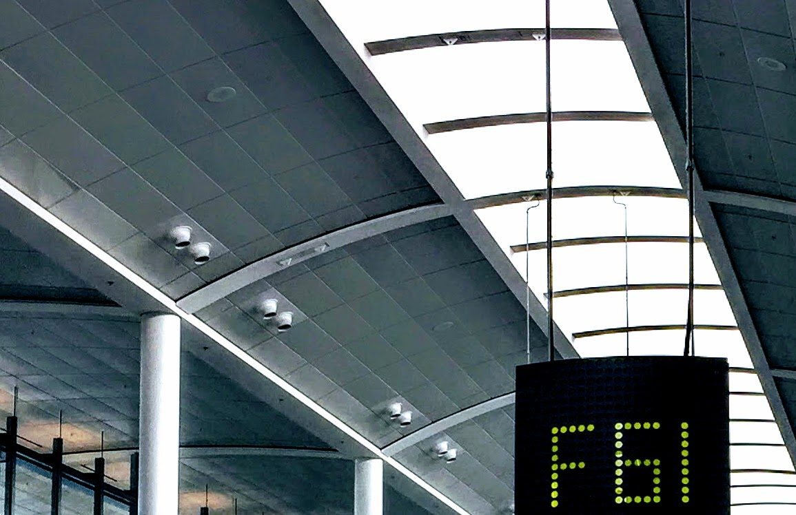 airport interior with skylights