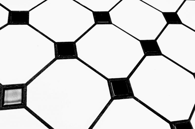 black and white tiled bathroom floor