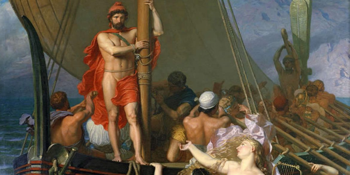painting of Ulysses And The Sirens by Léon Belly