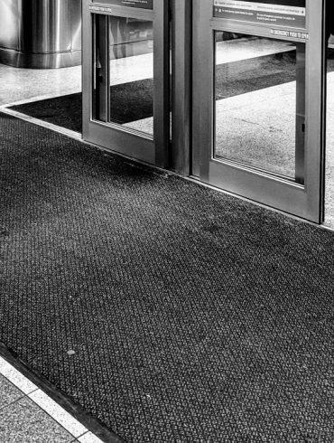 sliding doors at airport terminal entrance