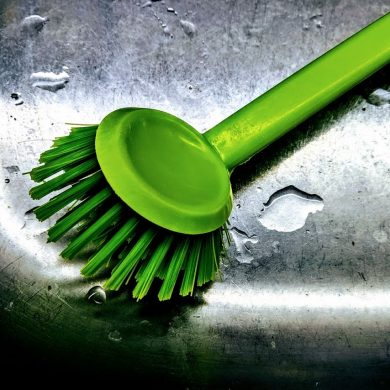 dish cleaning brush in sink