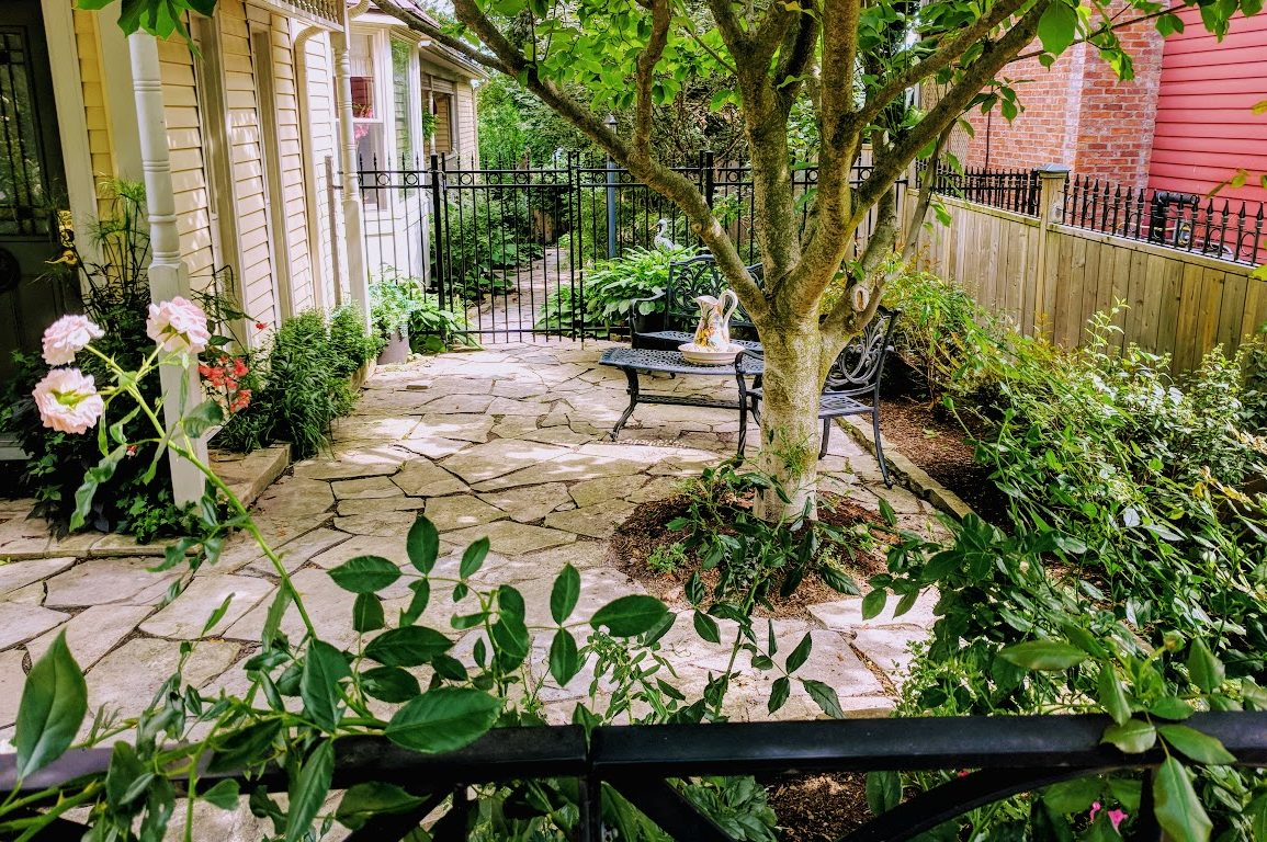 private garden patio with flowers