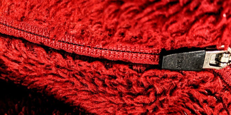zipper in a red garment