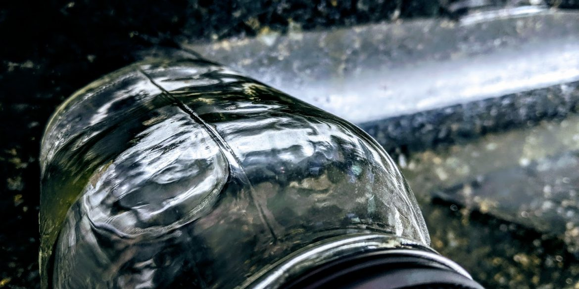 glass jar with reflections