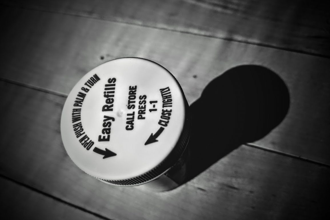 lid of a pill bottle