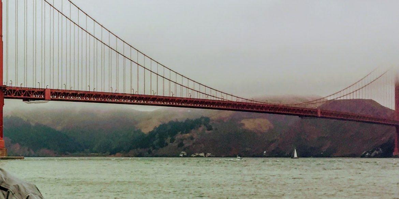 man's shoulder with bridge behind him in fog