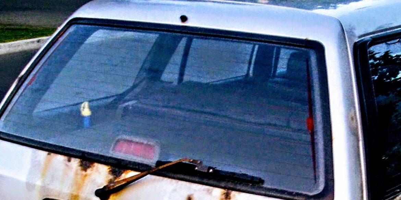 rear window of a 1992 Toyota hatchback