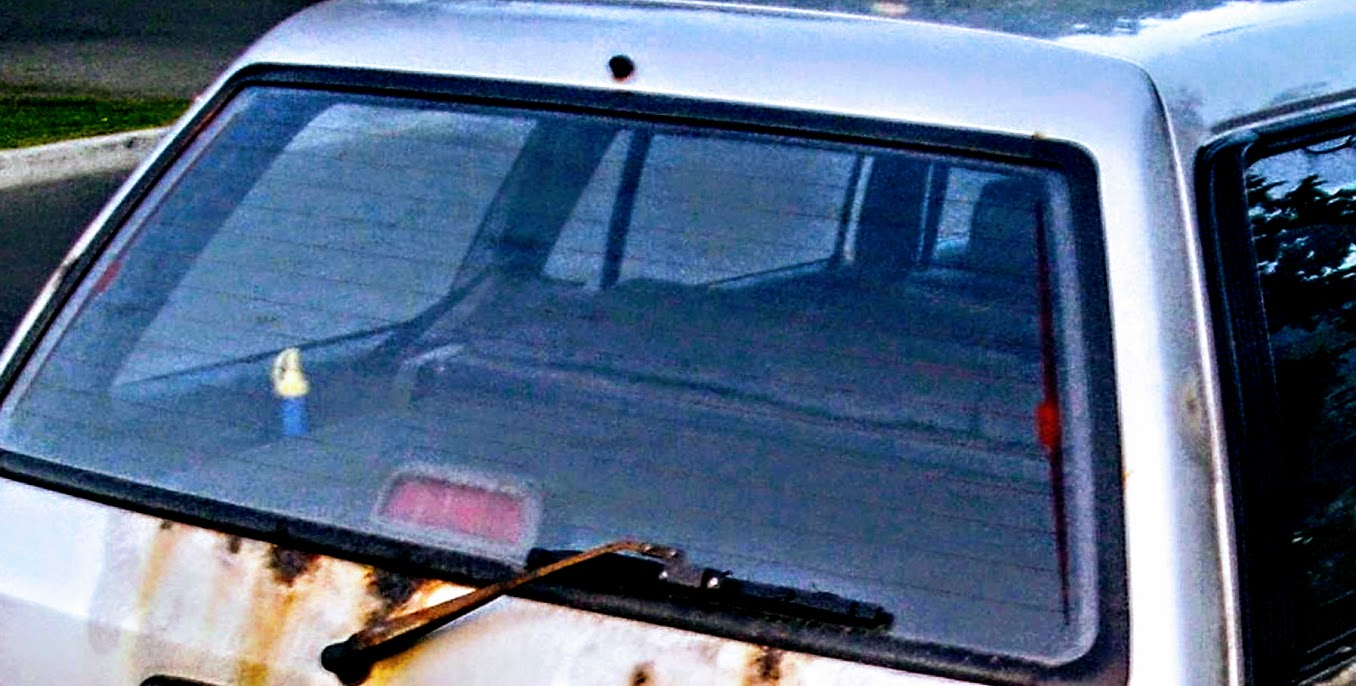 rear window of a 1992 Toyota hatchback