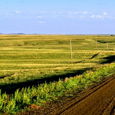empty road and prairie outside Belle Fourche