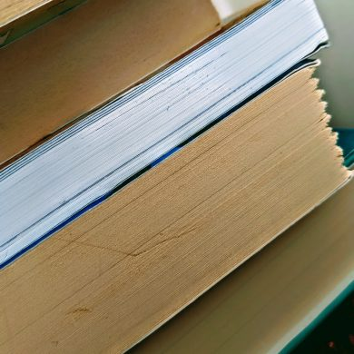 stack of books showing paper edges