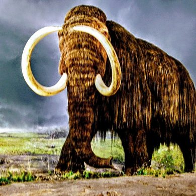 woolly mammoth with large tusks is menacing