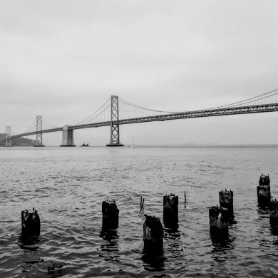 Bay Bridge in San Francisco fog