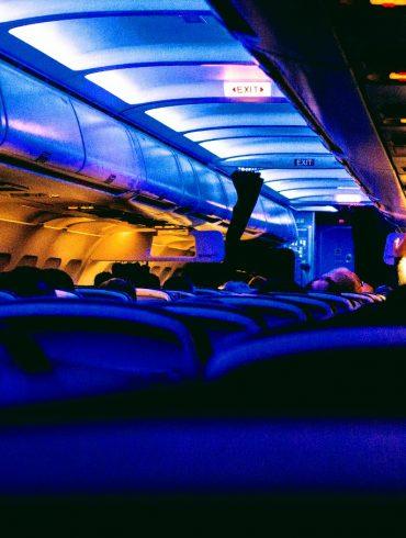 airplane interior in the dark