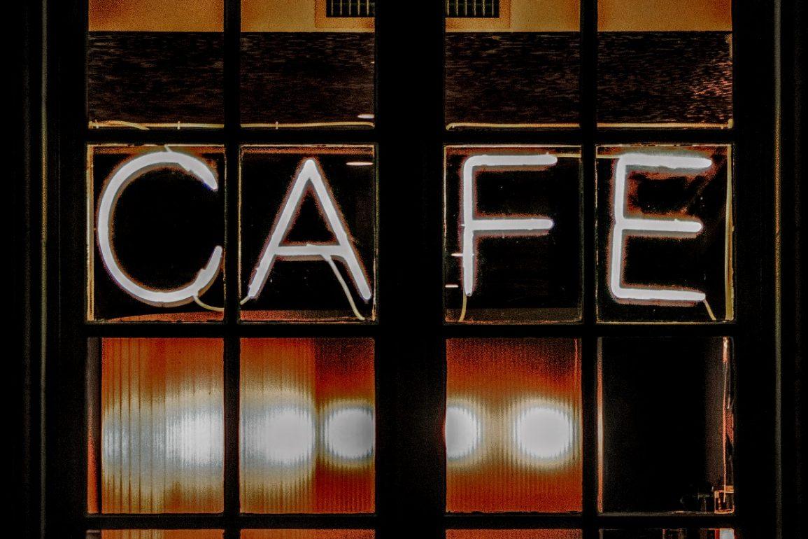 exterior cafe window at night