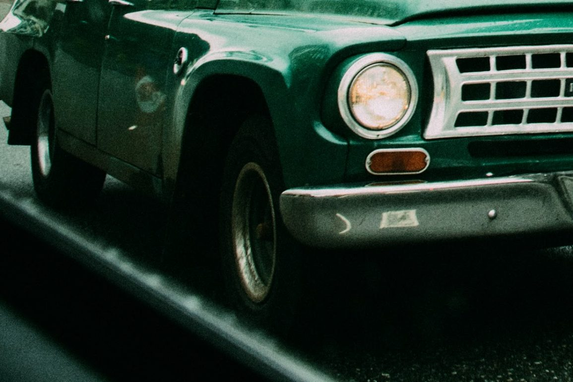 green car in close up view