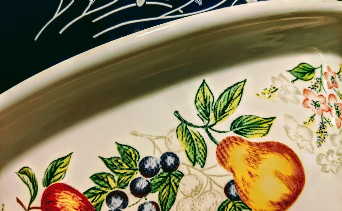 colorful fruit patterned bowl