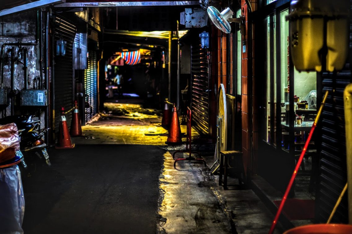 dark mysterious alley at night