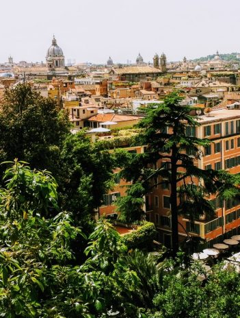 high view of Rome with trees in foreground