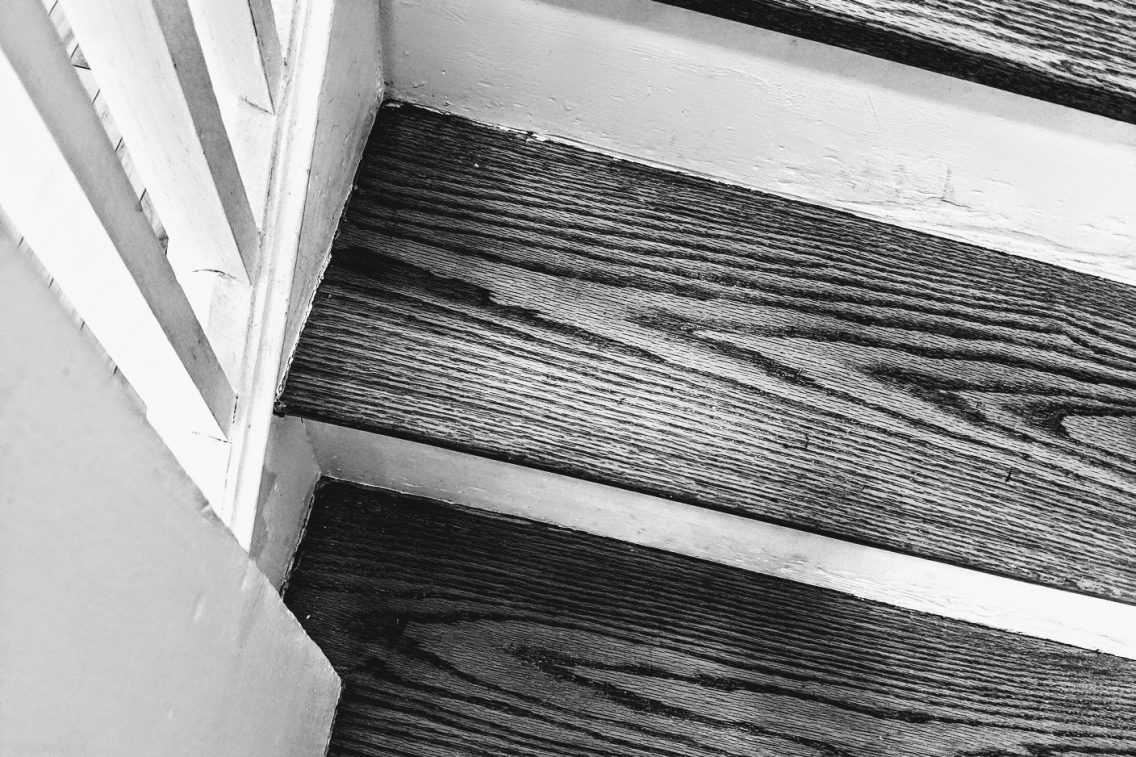 close up of wooden stairs