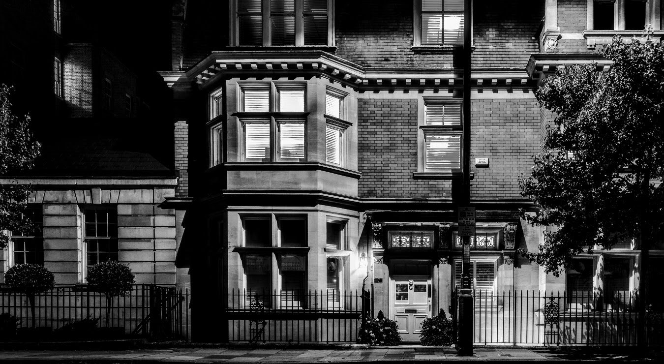 exterior of London townhouse at night